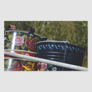 Painted Jug And Bucket Rectangle Stickers