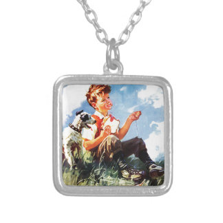 Painted Kid Silver Plated Necklace