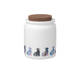 Painted Kittens Candy Jar