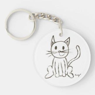 Painted Kitty Acrylic Keychain