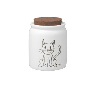 Painted Kitty Candy Jar