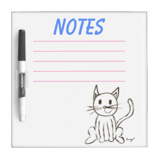 Painted Kitty Dry Erase Board - Pink & Blue