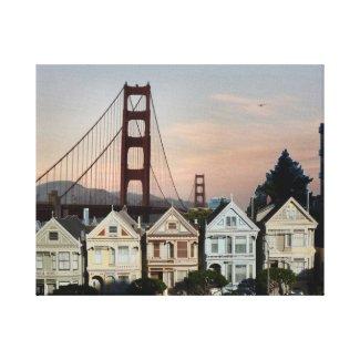Painted Ladies And Golden Gate Bridge Canvas Print