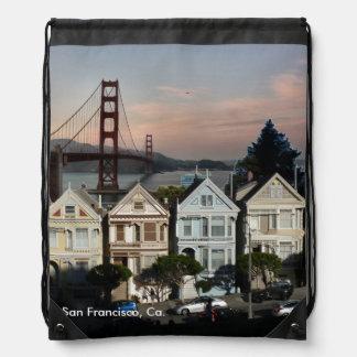 Painted Ladies And Golden Gate Bridge Drawstring Backpack