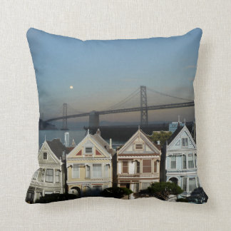 Painted Ladies And SF Bay Bridge Throw Pillow