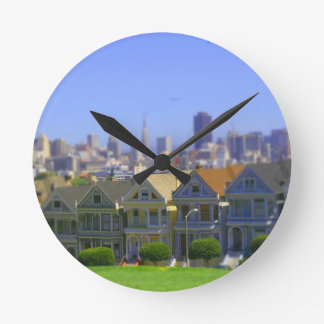Painted Ladies in San Francisco (Tilt & Shift) Round Clock