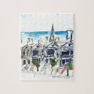 Painted Ladies  San Francisco Watercolor Puzzle