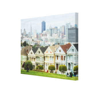 Painted Ladies, Victorian houses and skyline Canvas Print