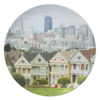 Painted Ladies, Victorian houses and skyline Melamine Plate