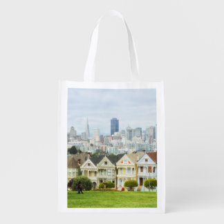 Painted Ladies, Victorian houses and skyline Reusable Grocery Bag