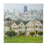 Painted Ladies, Victorian houses and skyline Small Square Tile
