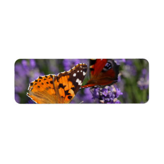 painted lady and peacock butterfly label