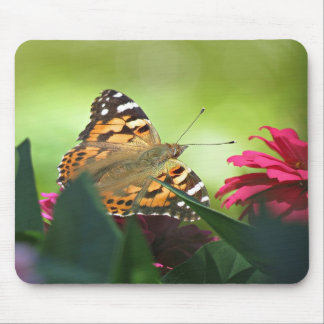Painted Lady Butterfly and Zinnias Mouse Pad