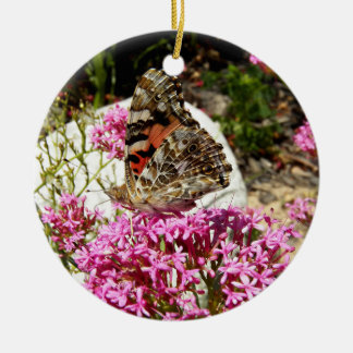 Painted Lady Butterfly Ceramic Ornament