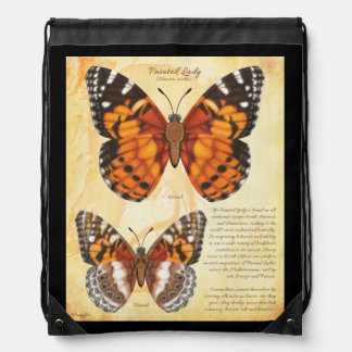 Painted Lady Butterfly Drawstring Bag
