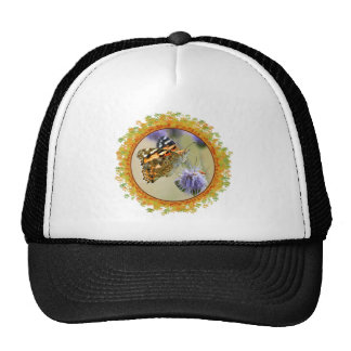 Painted lady butterfly feeding in frame of leaves trucker hats