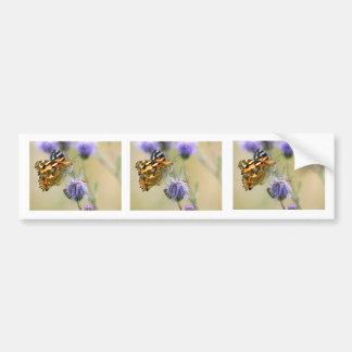 Painted lady butterfly feeding on blue flower car bumper sticker