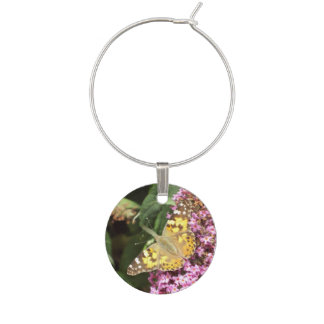 Painted Lady Butterfly Garden Party Wine Glass Charm