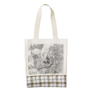 Painted Lady Butterfly Gray Sketch Effect Zazzle HEART Tote Bag