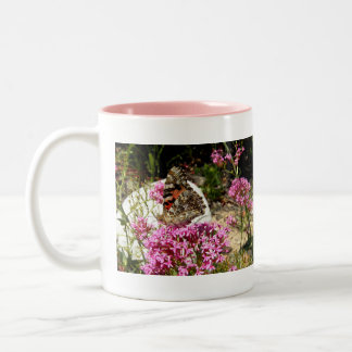 Painted Lady Butterfly Two-Tone Coffee Mug