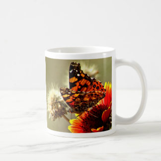 Painted Lady Butterfly on Firewheel Classic White Coffee Mug