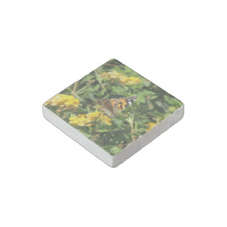 Painted Lady Butterfly on Lantana Blooms Stone Magnet