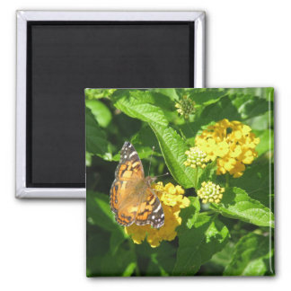 Painted Lady Butterfly on Lantana Fridge Magnet