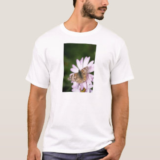 Painted Lady Butterfly on Pink Flower T-Shirt