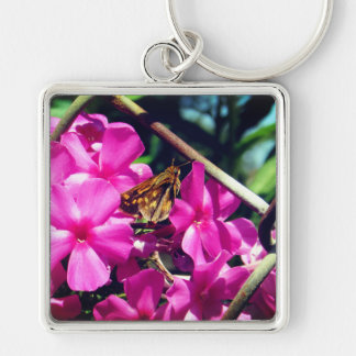Painted Lady Butterfly on Pink Flowers Keychain