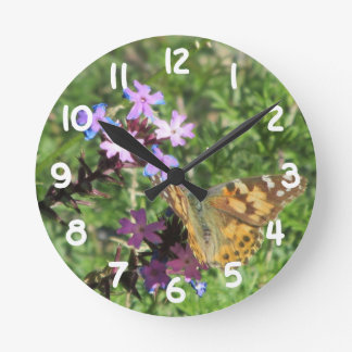 Painted Lady Butterfly on Purple Flowers Clock