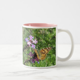 Painted Lady Butterfly on Purple Flowers Two-Tone Coffee Mug