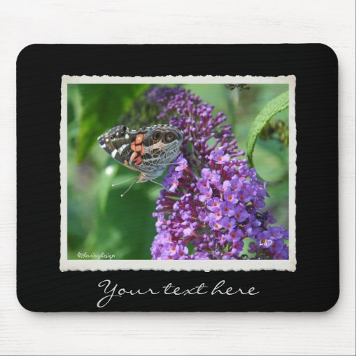 Painted Lady Butterfly on Purple Mouse Pad