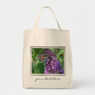 Painted Lady Butterfly on Purple ~ Tote Bag bag