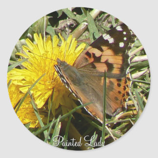 Painted lady classic round sticker