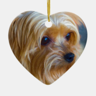 Painted Lady Yorkshire Terrier Ceramic Ornament