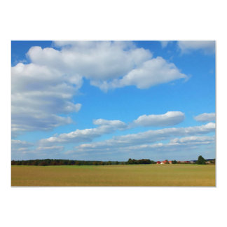 painted landscape with field, sky in summer card