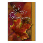 Painted leaf on Gold-Thanksgiving Greeting Card