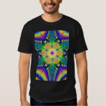 painted leather with rainbow feathers tee shirt