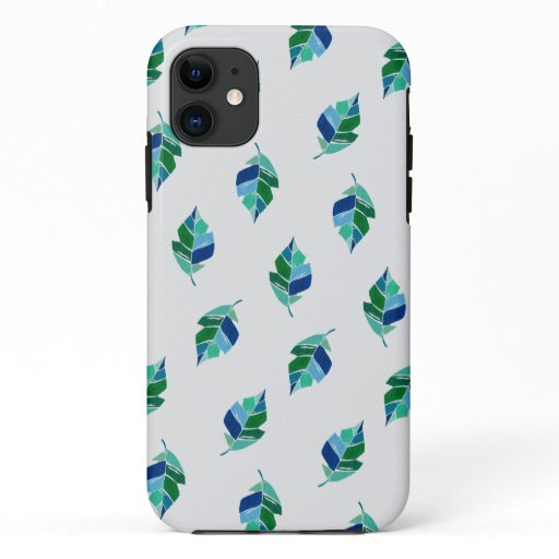 Painted Leaves Green Botanical Tropical Pattern iPhone 11 Case