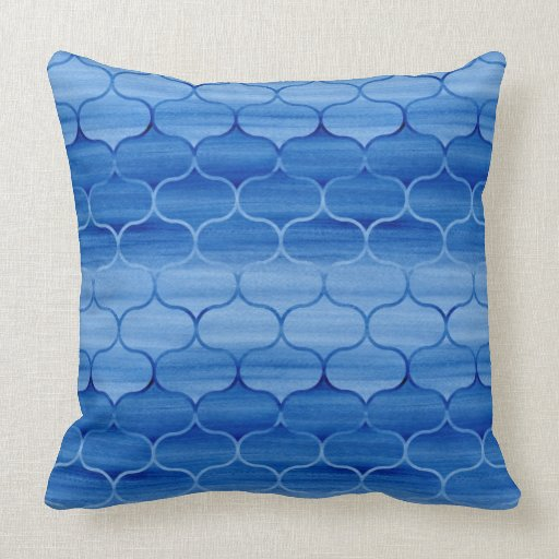Painted Light and Dark Blue Ogee Pattern Throw Pillow