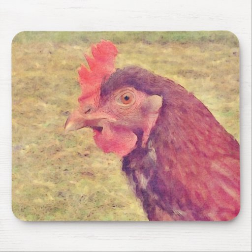 Painted Little Red Hen Mouse Pads