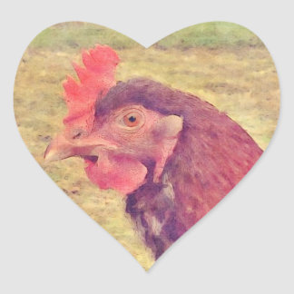 Painted Little Red Hen Heart Stickers