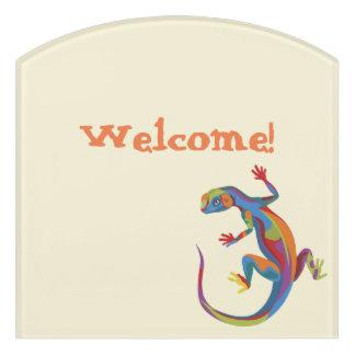 Painted Lizard Door Sign