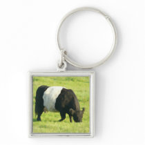 Painted Look Belted Galloway Cow in Field Keychain