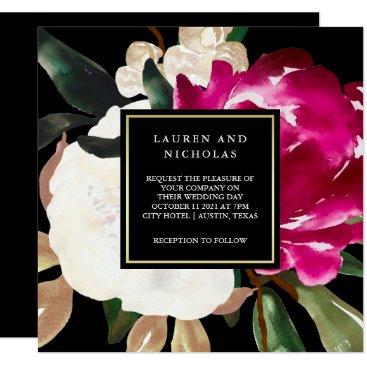 Wedding Themed Painted Magnolia on Black   Wedding Card
