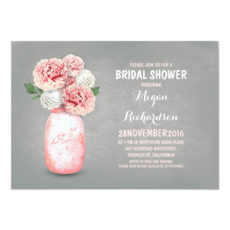 Painted mason jar rustic bridal shower invitations