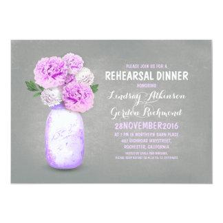 "Painted mason jar rustic rehearsal dinner invites 5"" x 7"" invitation card"