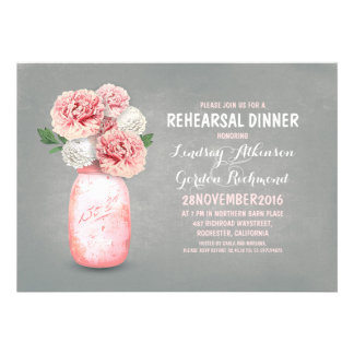 Painted mason jar rustic rehearsal dinner invites