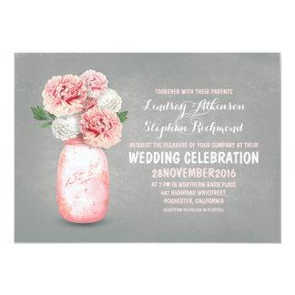 "Painted mason jar rustic wedding invitations 5"" x 7"" invitation card"