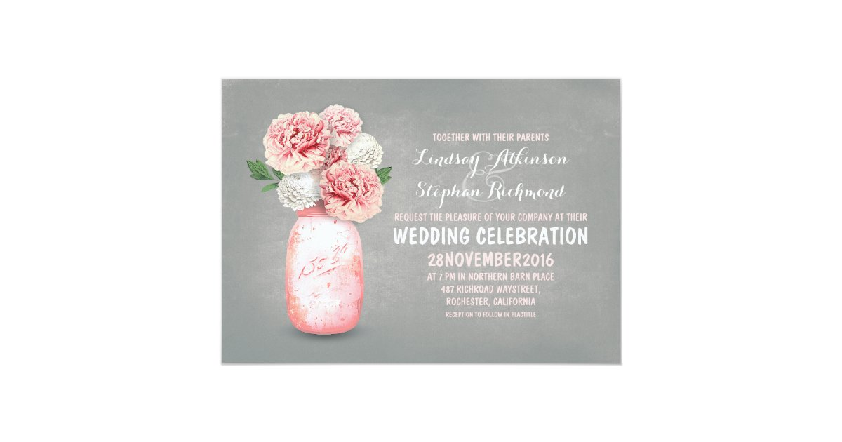 Painted Wedding Invitations: Painted Mason Jar Rustic Wedding Invitations